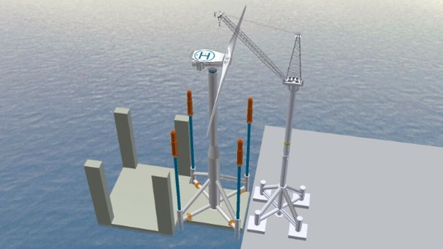 Seawind's approach sees the entire turbine assembled onshore and launched at sea by semi-submersible