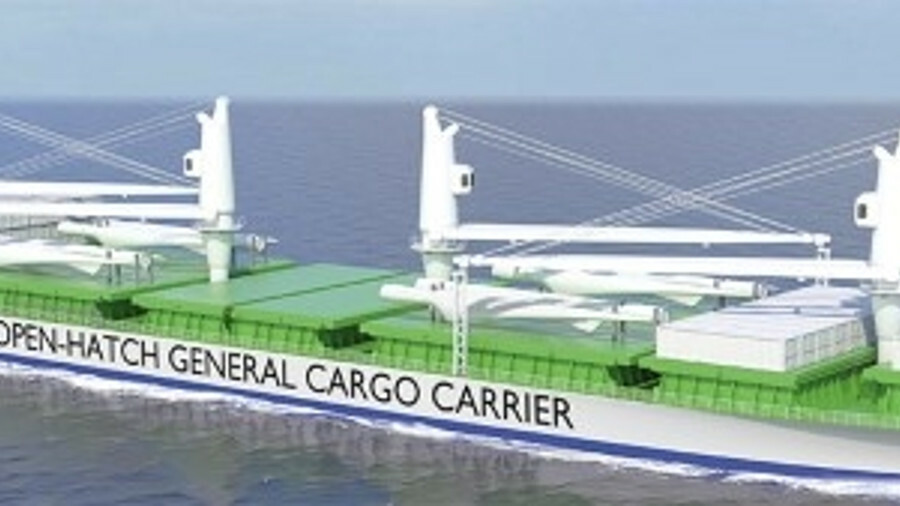Oshima Shipbuilding and DNV GL's new, open-hatch, general cargo carrier design can be fitted with co