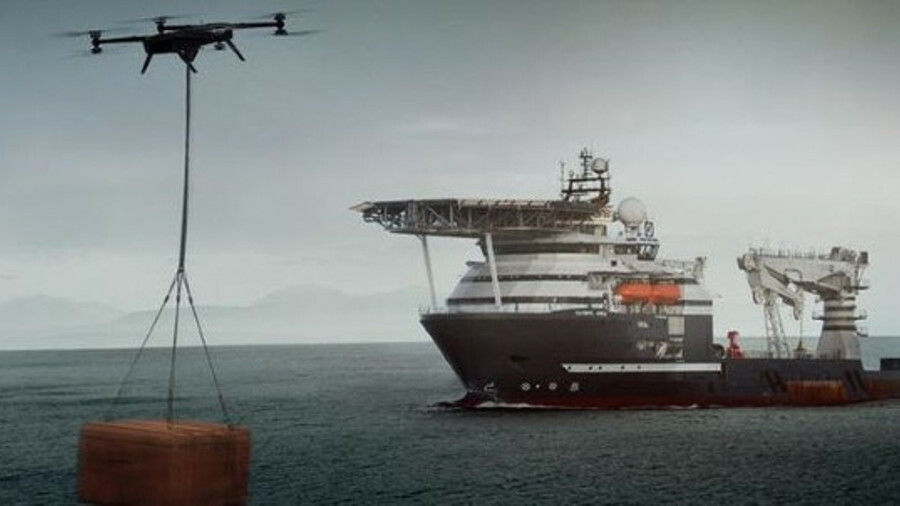 The partners in the project believe that cargo-carrying drones could transport cargo to ships and pl