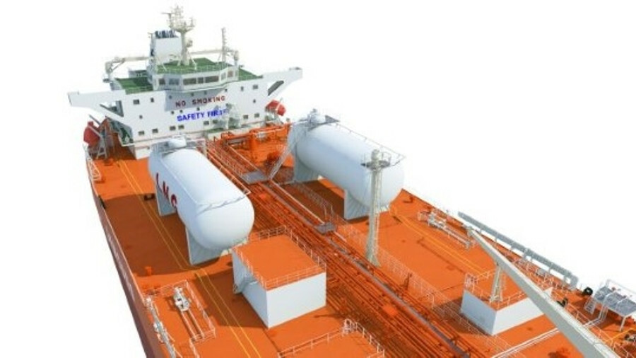 The two deck-mounted LNG bunker tanks on each ship will enable a month of operations before refuelli