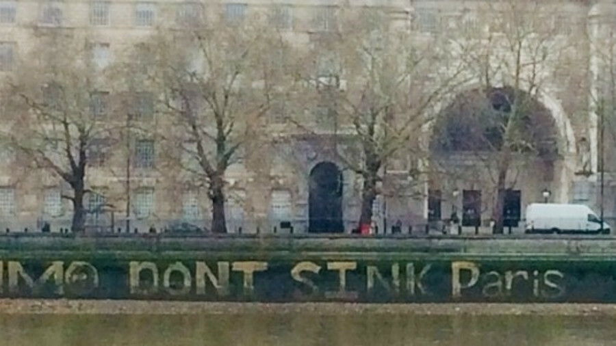 A public plea written on London's Thames embankment across from IMO headquarters