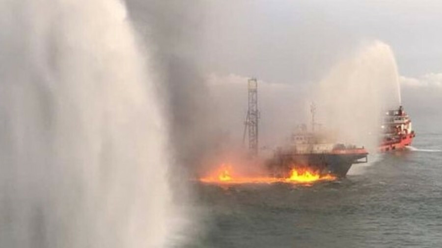 Tugs tackle fire on oil exploration vessel Geos off Kalimantan (credit: Fleetmon)
