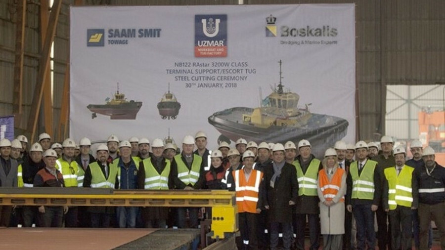 Uzmar starts cutting steel on a new RAstar 3200-W tug for SAAM Smit