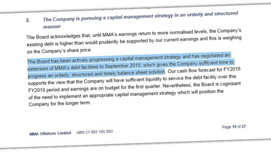 MMA's AGM notice letter last October discussed its capital management strategy