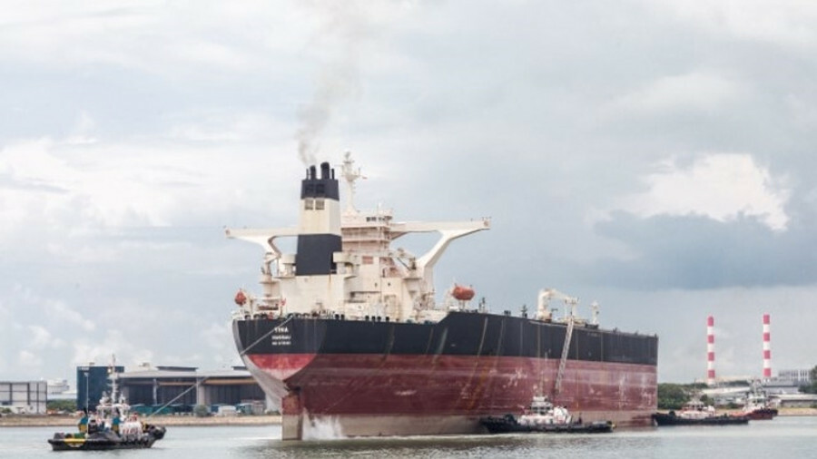 Singapore's Keppel shipyard is converting this very large crude carrier into an FPSO for the Caribbe