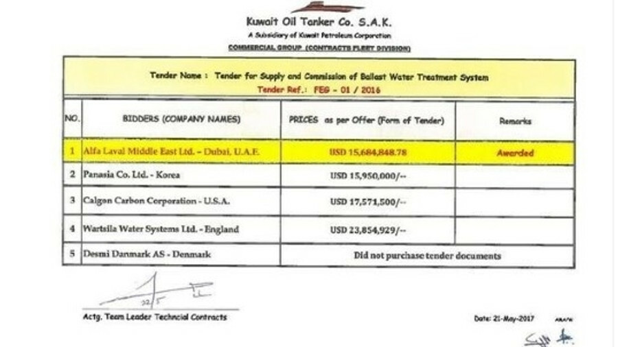 KOTC has published details of its ballast treatment bids