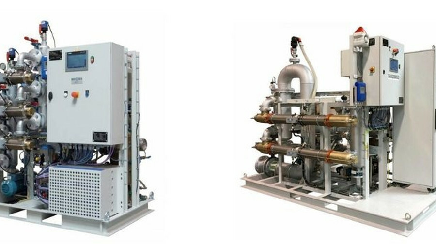 The Bio-Sea Small Flow Rate BWMS (left) and the skid version of the Bio-Sea 300 are now being market
