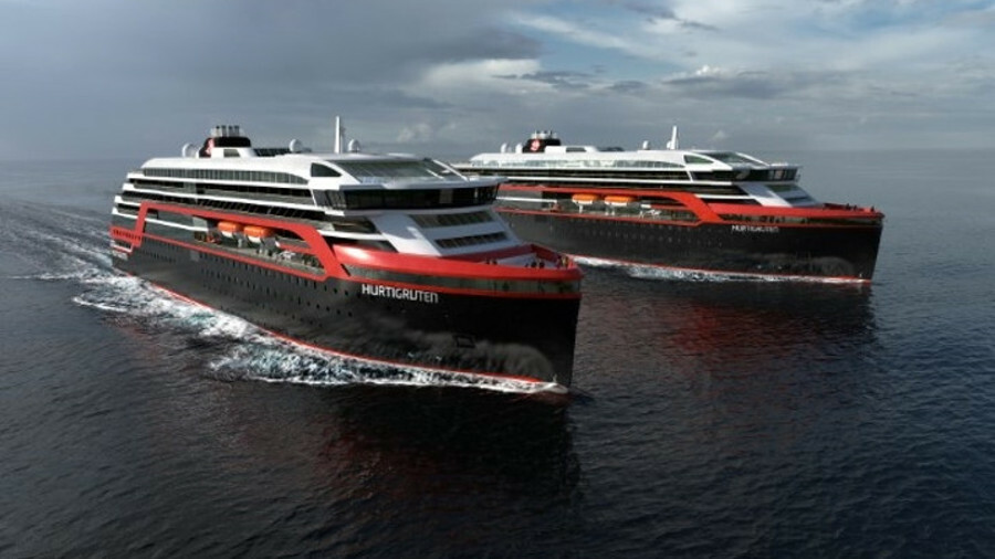 Silent sailing - a mock up of Hurtigruten's two new hybrid-powered ice-class cruise ships
