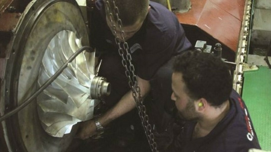 TurboUSA staff, seen here attending to a turbocharger on board, can travel to any location (credit: