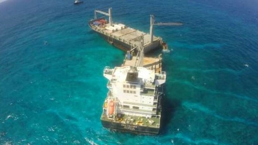 Kea Trader broke in two during storms after it crashed on a reef in New Caledonia