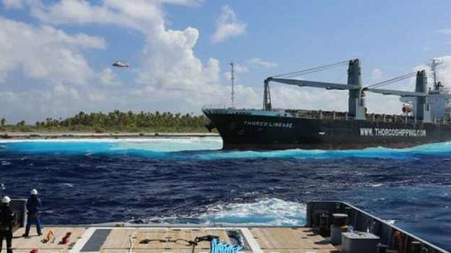 French Navy refloated <i>Thorco Lineage</i> from the Raroia Atoll, French Polynesia. (credit Marine