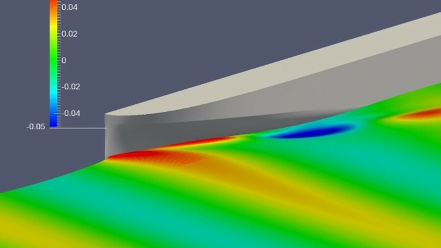 Foreship's operability analysis uses CFD to calculate bow wave heights, as here, as part of its fuel