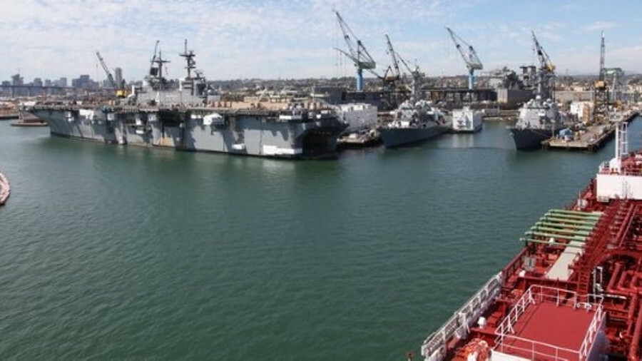 NASSCO's naval heritage is clear from this view from the bridge of the product tanker Palmetto State