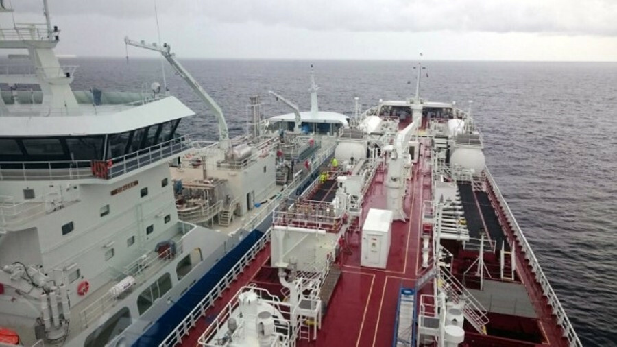 Ship-to-ship transfer of fuel from 5,800 m3 LNG bunker vessels Coralius to 17,560 dwt, dual-fuel che