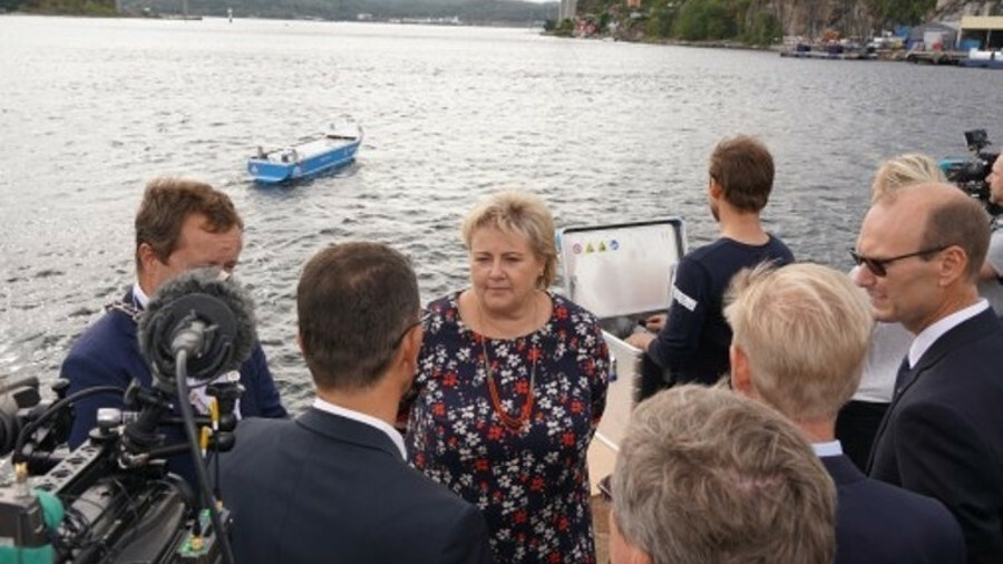 Prime Minister of Norway Erna Solberg was present for the signing at Yard shipyard in Brevik, Norway