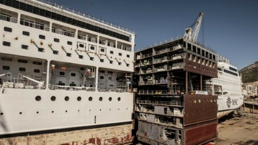 As with the MSC Cruises' Lirica lengthening (pictured), the the new mid-body section will be mounted