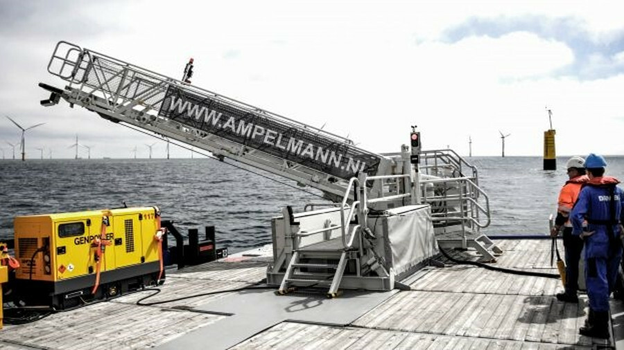 Ampelmann's L-type gangway can be installed on a support vessel in one lift