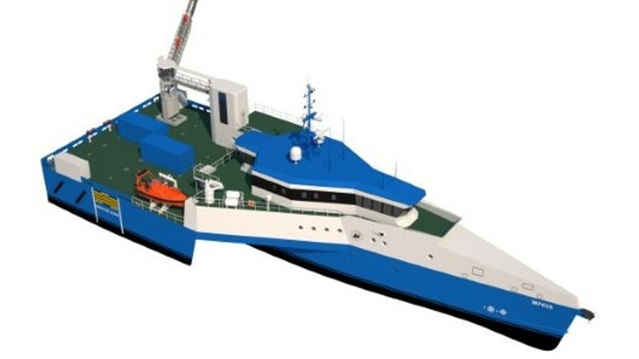 Trimaran supply/intervention vessel to take on helicopters
