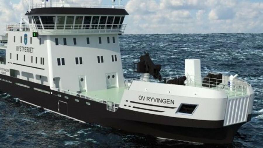 The Norwegian Coastal Authority's OV Ryvingen has available capacity of 2,938 kWh