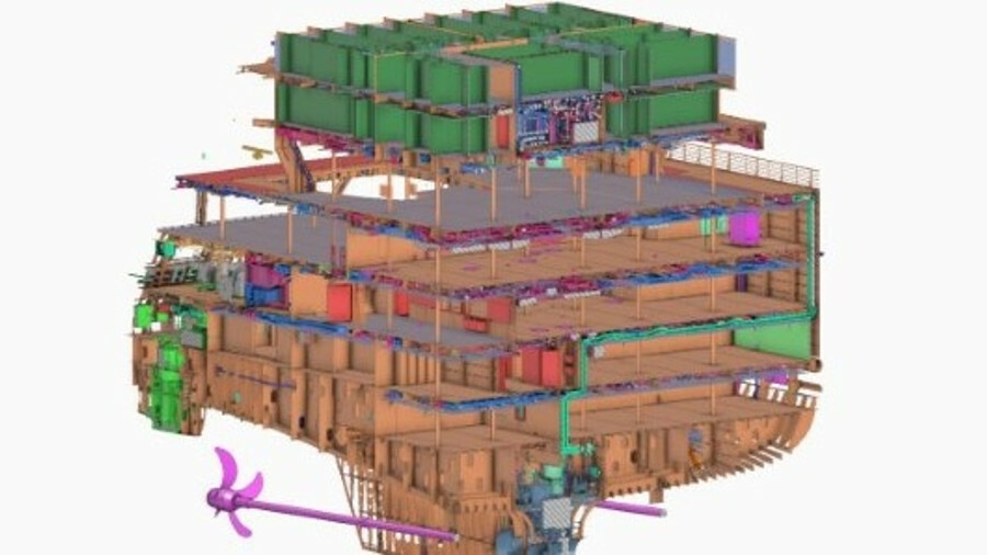 Cadmatic's software includes detailed 3D modelling of hull structures and ship systems