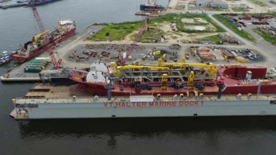 VT Halter Marine has facilities for repairs and vessel construction with a drydock