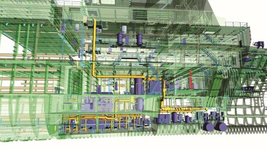 Aveva Engage includes 3D design models, machinery and pipework on a vessel