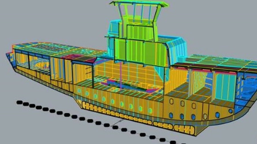 A 3D model of a Jensen towing tug was sliced for class review