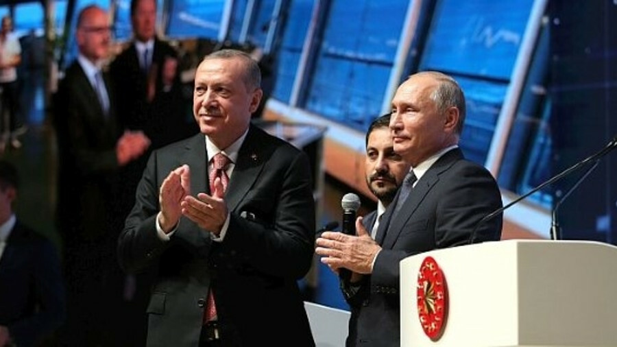 Russia's Vladimir Putin and Turkey's Recep Tayyip Erdogan gave the order for the final pipeline join