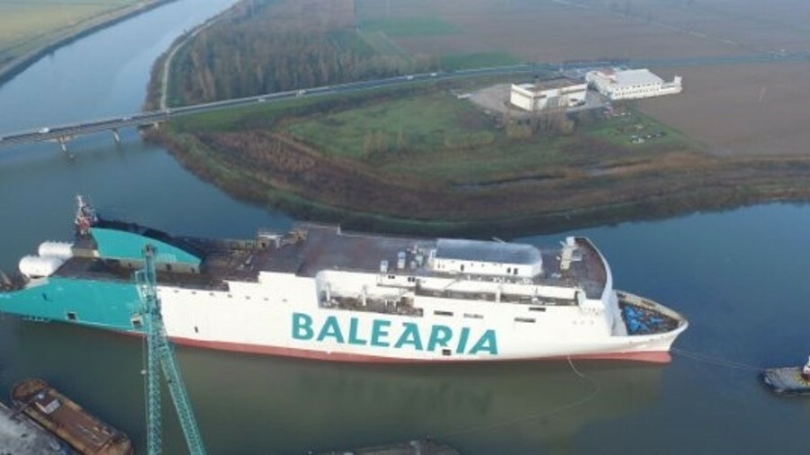 Baleària's new LNG-powered ferry, Marie Curie, is floated for final construction work (credit Baleàr