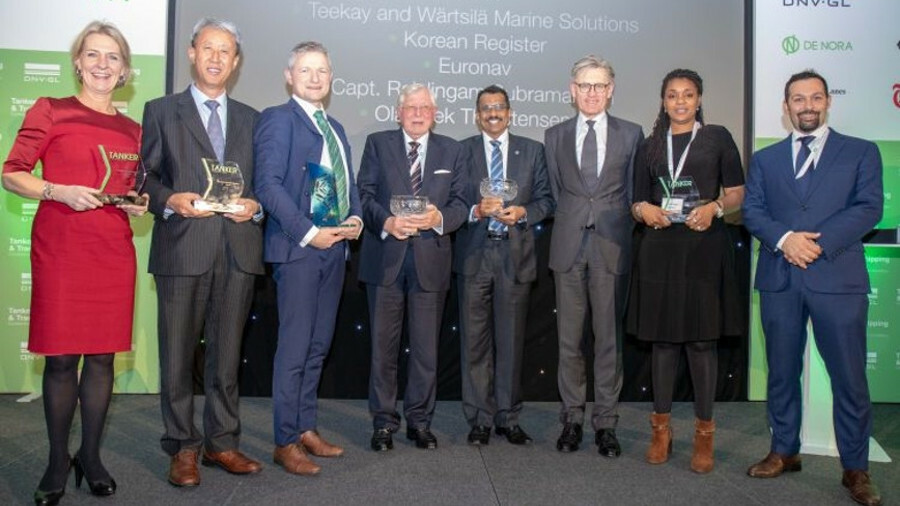 TST Award winners: (from left), Technical Innovation: Catrine Vestereng, DNV GL; Tanker Safety Award