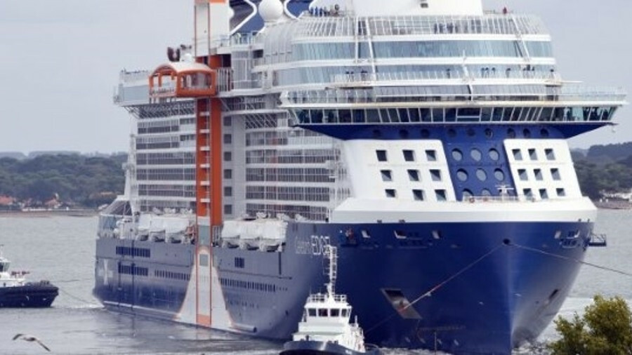 Celebrity Edge features a unique hull shape, incorporating a bulbous bow within a straight, vertical