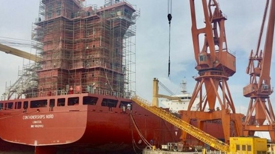 CMA CGM's first LNG-fuelled vessel, Containership Nord, under construction in China