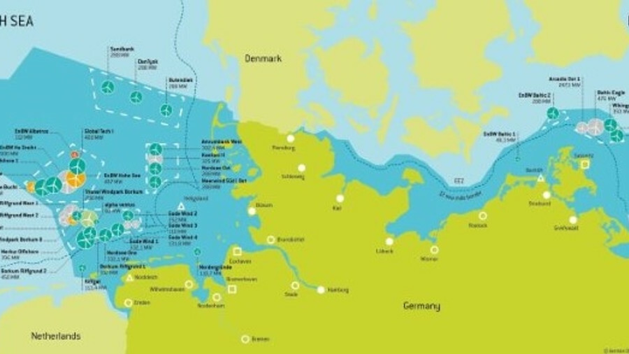 1,305 offshore wind turbines with a total output of 6.382 GW fed into the German grid in 2018