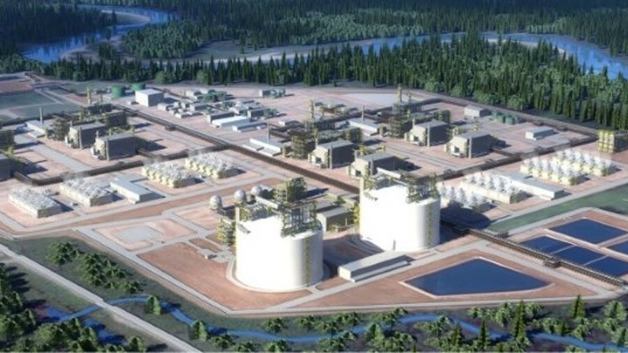 Artist's rendering of the LNG Canada export terminal being built in British Columbia (credit: LNG Ca