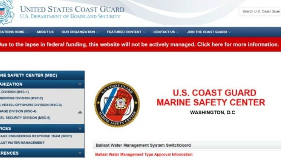 USCG ballast water type-approval suspended by US government shutdown