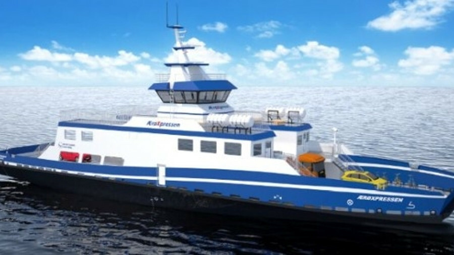The new ferry is being built in Latvia before being equipped and finished at Hvide Sand