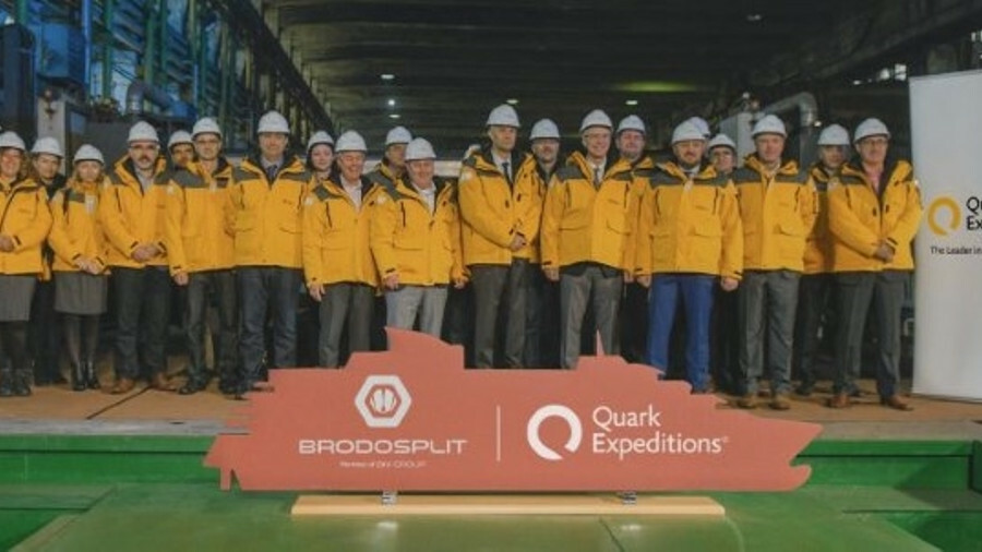 The steel-cutting of Quark Expeditions' new cruise ship has taken place at Brodosplit shipyard