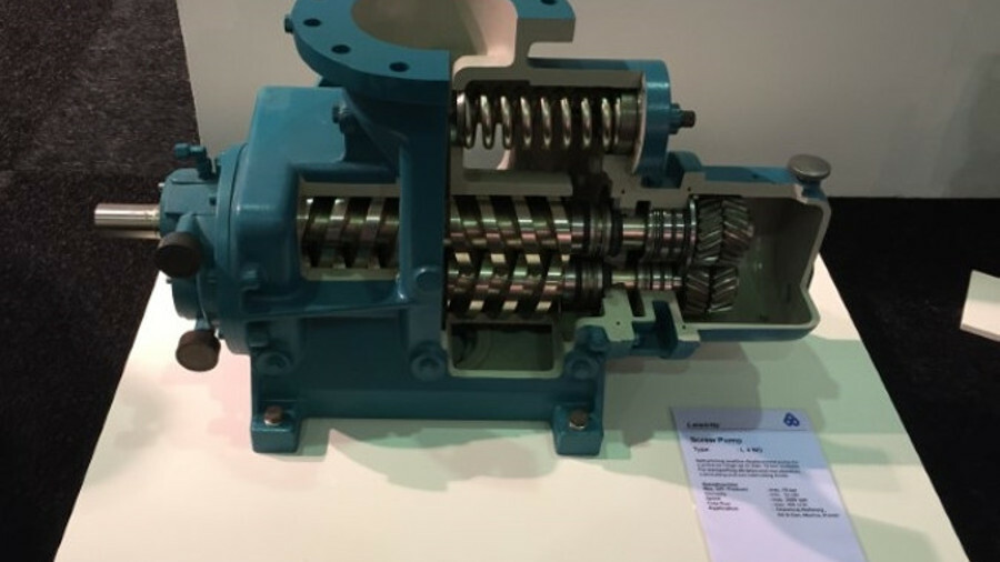 Cutaway of the Leistritz L4-type screw pump showing proven internal components