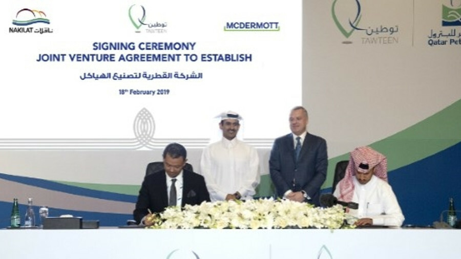 A signing ceremony was held yesterday in Qatar for the new Nakilat-McDermott joint venture at the Er