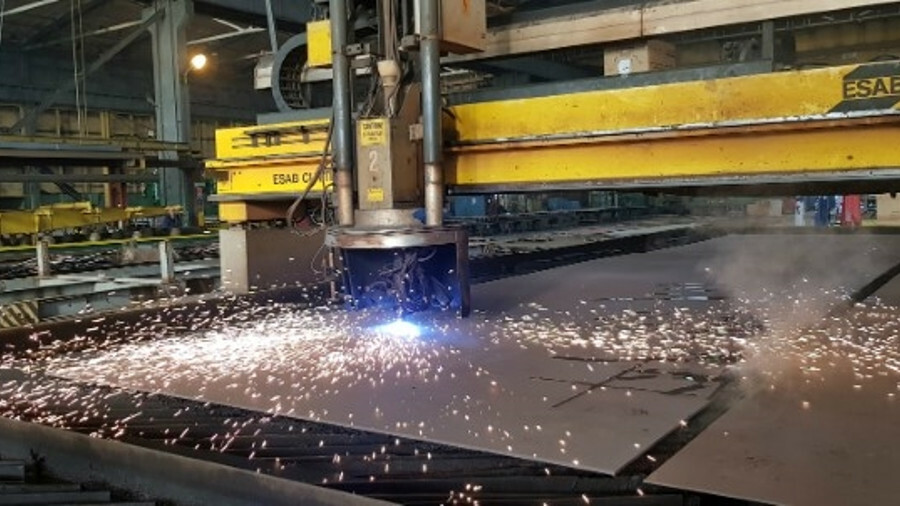 The first steel being cut for Aurora at the shipyard in Crist, Poland