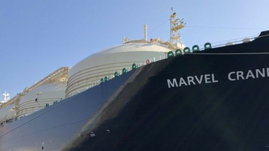 The fifth-in-series gas carrier again features combined steam turbine and gas engine propulsion