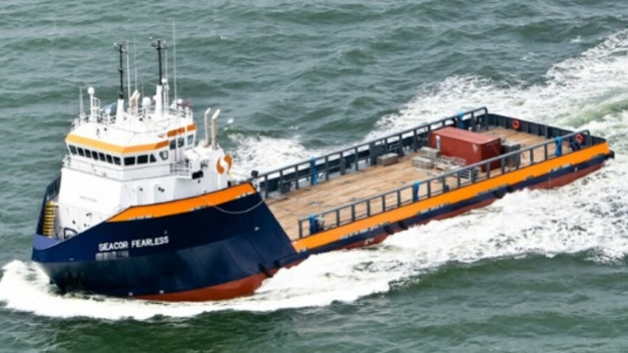 Seacor Fearless, one of five 61-m platform supply vessels built by Master Boat Builders (source: Mas