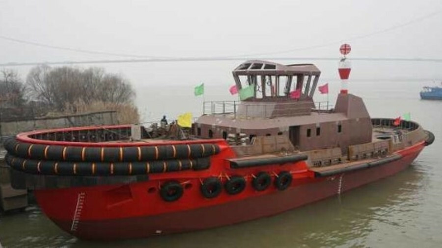 Zhenjiang Shipyard launched a towage and pilot vessel for Tianjin Port Tug & Barge Co