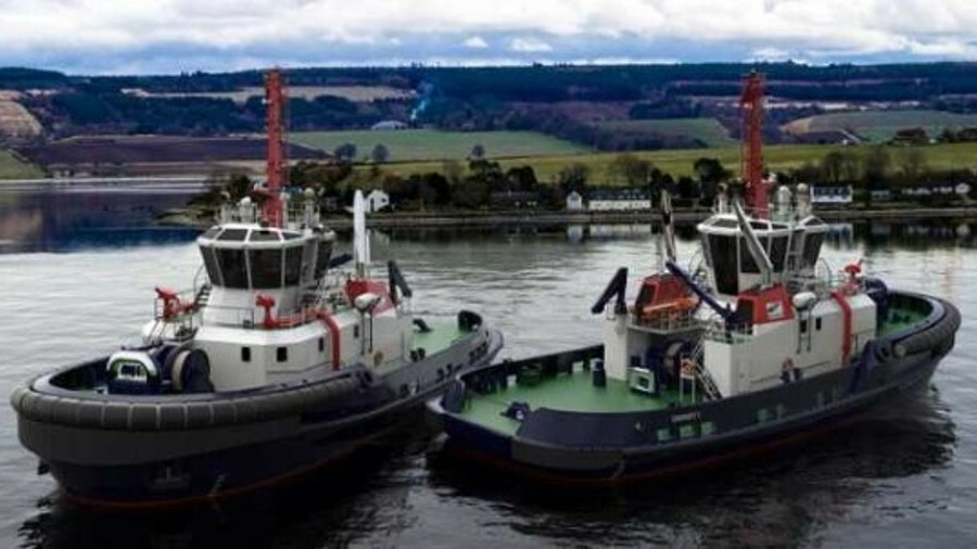 Illustration of two tugs ordered from Sanmar shipyard for operations in Orkney, Scotland