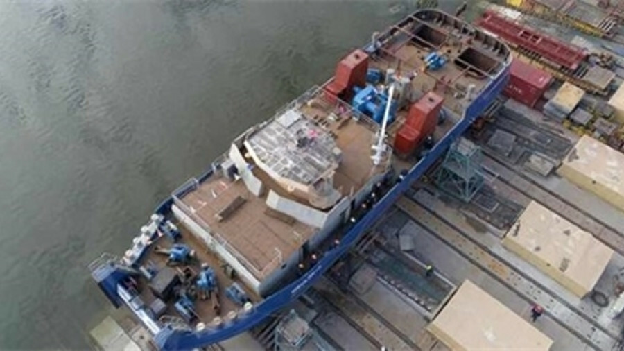 Nibulon shipyard launched the fourth of its project tugs in March 2019