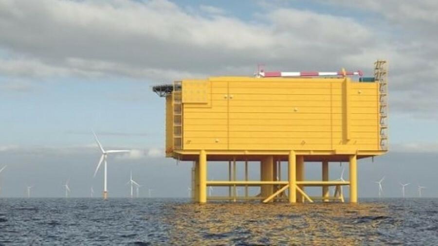 Artist's impression of a 2-GW offshore converter platform for IJmuiden Ver