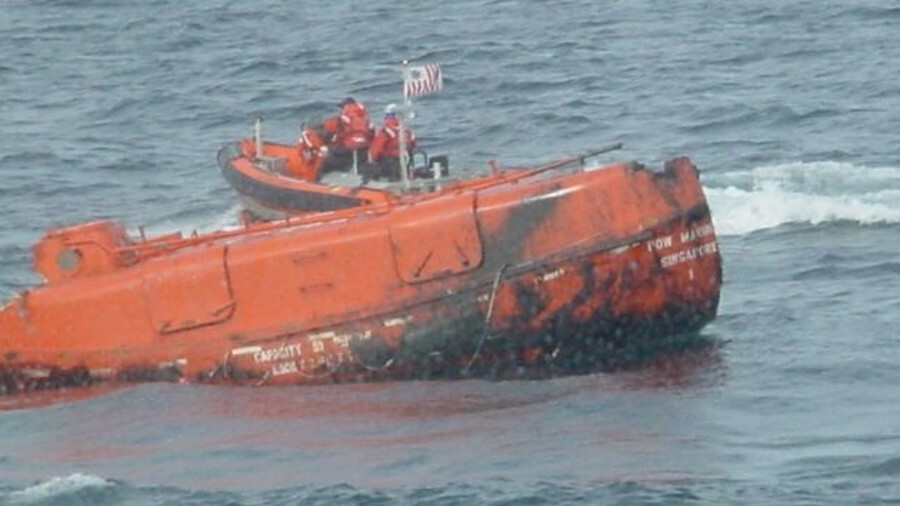 Footage from the US Coast Guard shows damage to one of Bow Mariner's lifeboats (image: USCG)