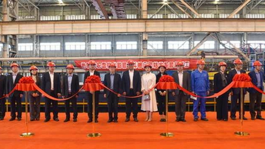 X Steel cutting ceremony for four ASD tugs being built at Zhenjiang Shipyard for Liaoning Longyun Sh