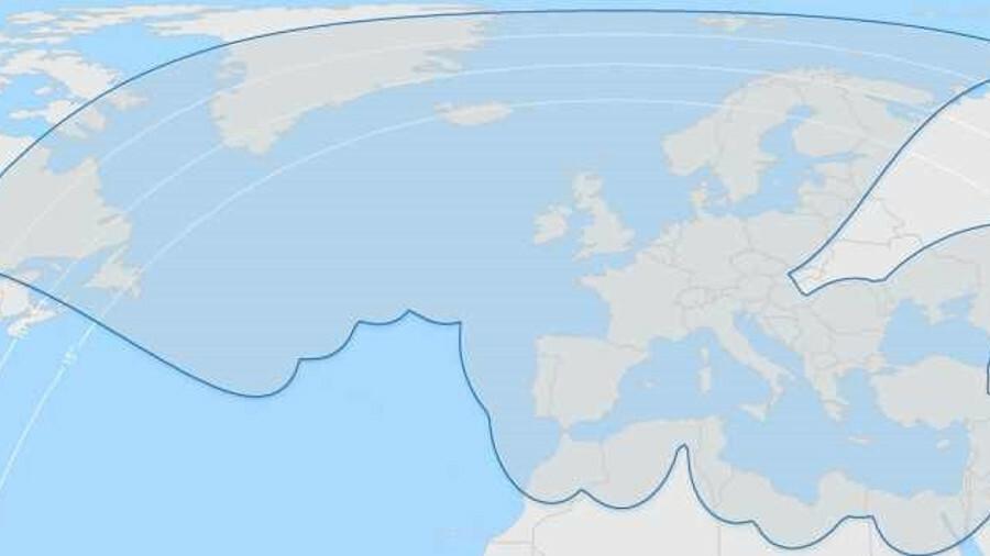 X Thor 7 Ka-band coverage: North Sea, North Atlantic, Norwegian Sea, Baltic Sea, Black Sea, Caspian