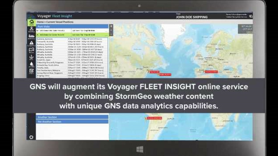 StormGeo weather information will augment GNS' voyage planning services